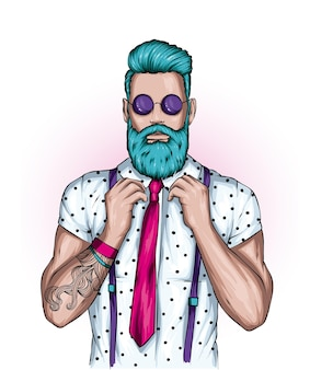 Stylish guy with a beard and glasses