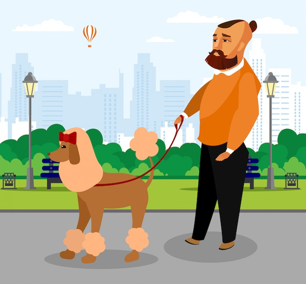 Stylish guy with dog on leash vector drawing.