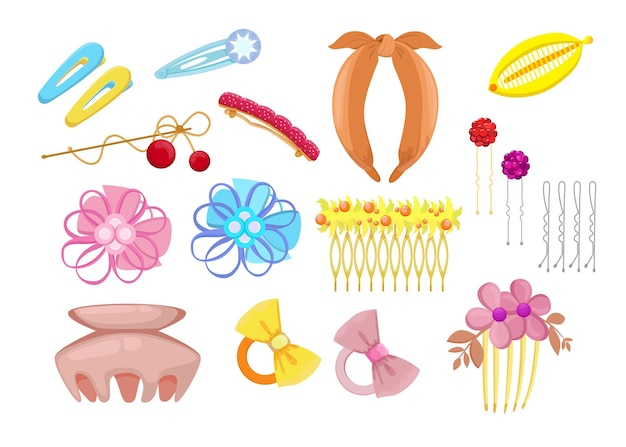 Набор стильных аксессуаров для волос с плоской иллюстрацией
