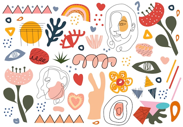 Stylish hand drawing set of shapes and doodle objects, line art faces. abstract retro modern trendy hipster style.  illustration