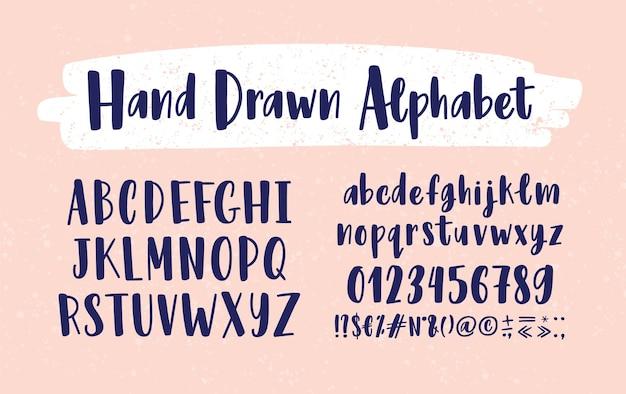 세련된 손으로 그려진 영어 알파벳 대문자 및 소문자
