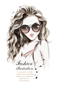 Stylish hand drawn girl in sunglasses.