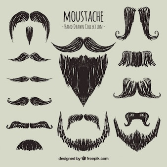 Stylish hand drawn mustaches