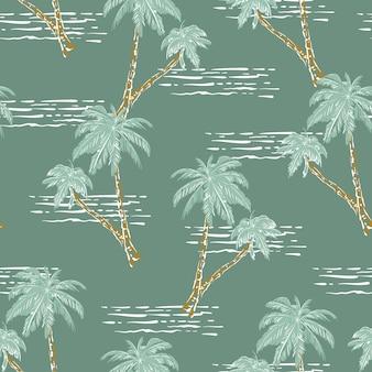 세련된 손으로 그린 야자수와 바다 물결 복고풍 분위기 원활한 패턴 벡터 eps10, 패션, 직물, 섬유, 벽지, 커버, 웹, 포장 및 밝은 녹색 민트의 모든 인쇄를 위한 디자인