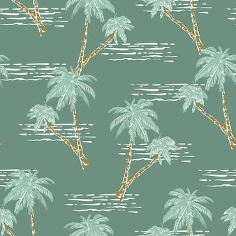 Stylish hand drawn palm tree and ocean wave retro mood seamless pattern vector eps10,design for fashion , fabric, textile, wallpaper, cover, web , wrapping and all prints on light green mint