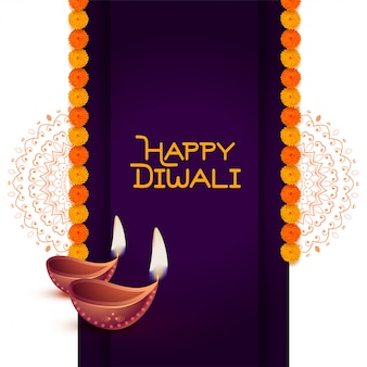 Stylish happy diwali diya greeting background