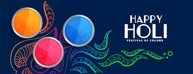 Stylish happy holi colorful festival banner
