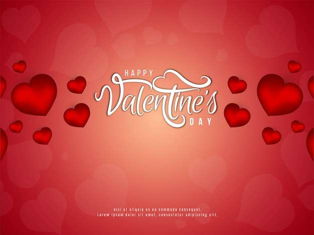 Stylish happy valentine's day red background