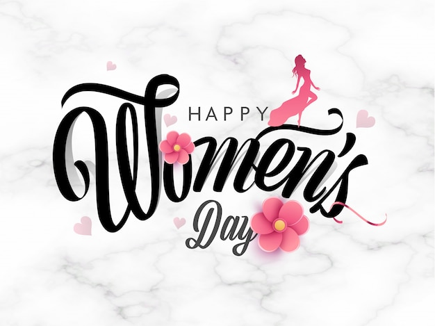 Stylish happy women's day text decorated with paper cut flowers and silhouette modern lady standing on white marble texture background.