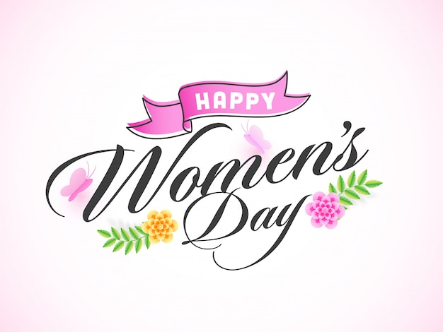 Stylish happy women's day text decorated with paper cut style beautiful flowers and butterfly