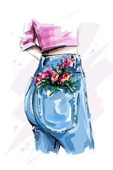 Stylish high waist back jeans