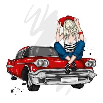 スタイリッシュな流行に敏感な女の子とヴィンテージカー