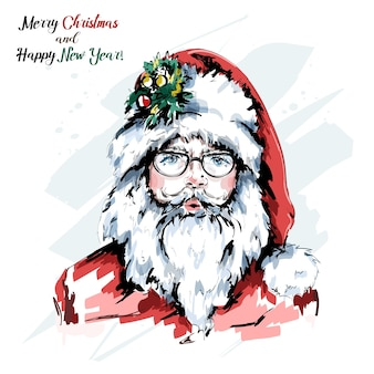 Stylish hipster santa in eyeglasses and red hat.