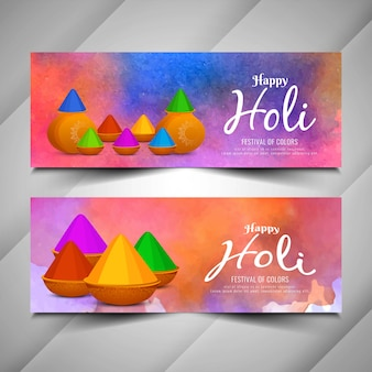 Stylish holi festival beautiful banners set