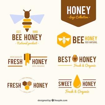 Stylish honey logotypes in flat design