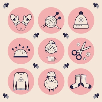 Stylish icons for needlework. images of a knitting woman, scissors, buttons, a hat, mittens with hearts, soft and warm sheep wool, a ball of yarn with knitting needles. stylish highlights handmade