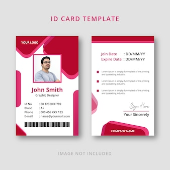 Stylish id card template with pink color