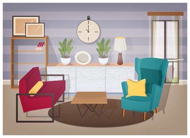 현대적인 가구와 가정 장식으로 가득한 거실의 세련된 인테리어-편안한 안락 의자, 커피 테이블, 책이있는 선반, 관엽 식물, 램프, 벽 그림. 다채로운 벡터 일러스트 레이 션.