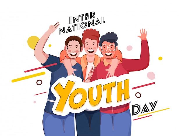 白い背景の写真キャプチャアクションで陽気な若い男の子とスタイリッシュな国際青年日テキスト。