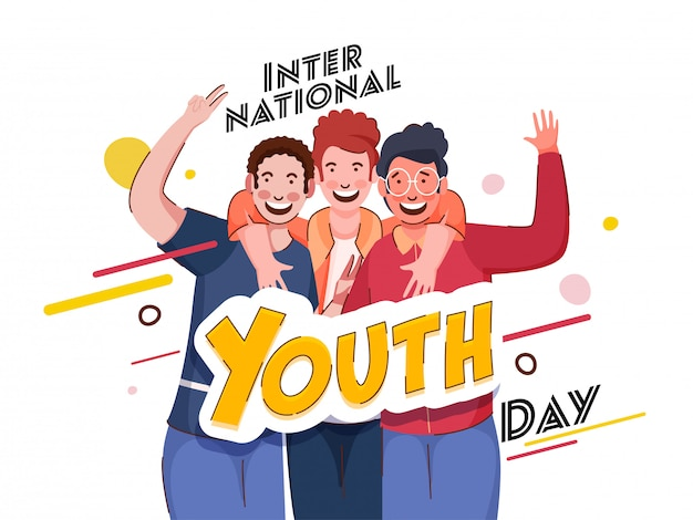 Stylish international youth day text with cheerful young boys in photo capture action on white background.
