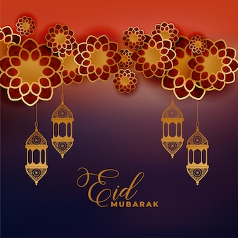 Stylish islamic decoration for eid mubarak festival