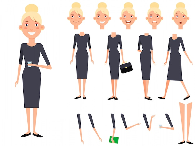 Stylish lady character set with different poses, emotions