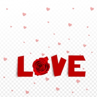 Stylish lettering of love with rose flower on heart decoration