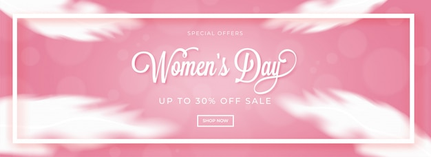 Stylish lettering of women's day with 50% discount offer on abst