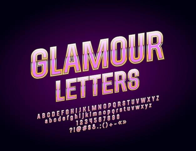 세련된 문자 숫자 및 기호 금색과 반짝이는 글꼴 럭셔리 우아한 알파벳