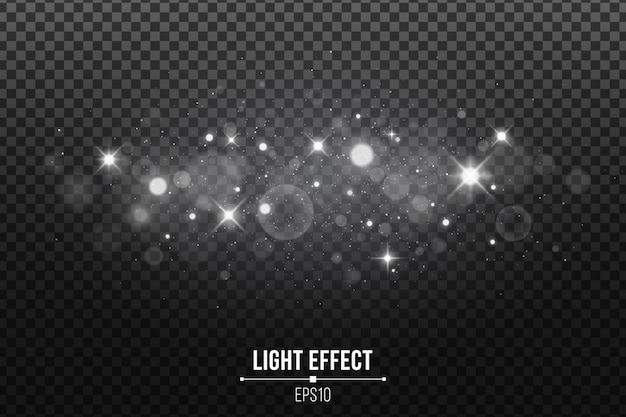 Stylish light effect isolated. shining stars. silver glitters and glowing spots.
