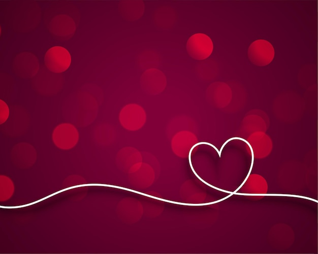 Стильная линия сердца валентинки на фоне боке