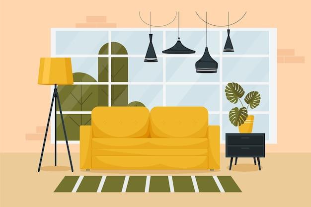 家具と大きな窓のあるスタイリッシュなリビングルームのインテリア。