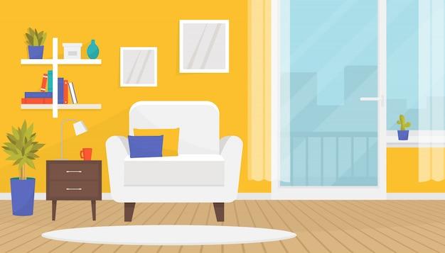 가구와 세련된 거실 인테리어. 부드러운 안락 의자, 책꽂이, 벽 그림, 집 식물. 홈 디자인. 목재 바닥, 발코니 문 및 큰 창문이있는 현대적인 아파트입니다.