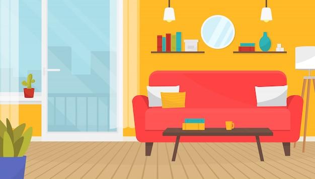 가구와 세련된 거실 인테리어. 부드러운 소파, 램프, 커피 테이블, 벽 그림, 식물. 홈 디자인. 목재 바닥, 발코니 문 및 큰 창문이있는 현대적인 아파트입니다.