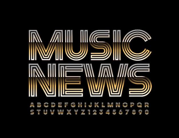 Стильный logo music news. элегантный золотой шрифт. роскошные буквы алфавита и цифры