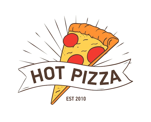 Stylish logotype with pizza slice and ribbon isolated on white