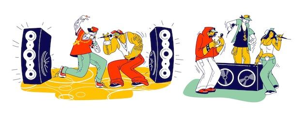 랩 음악으로 무대에서 공연하는 세련된 남성과 여성 캐릭터 현대 음악가. 젊은 래퍼들은 힙합을 노래하고 음향 장비로 현장에서 춤을 춥니다. 선형 사람들 벡터 일러스트 레이 션