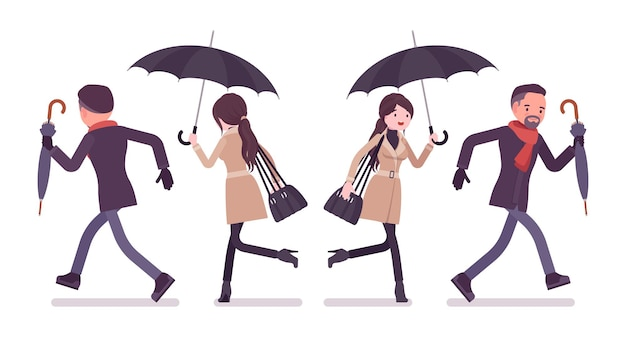 秋の服のイラストで走っている傘を持つスタイリッシュな男女
