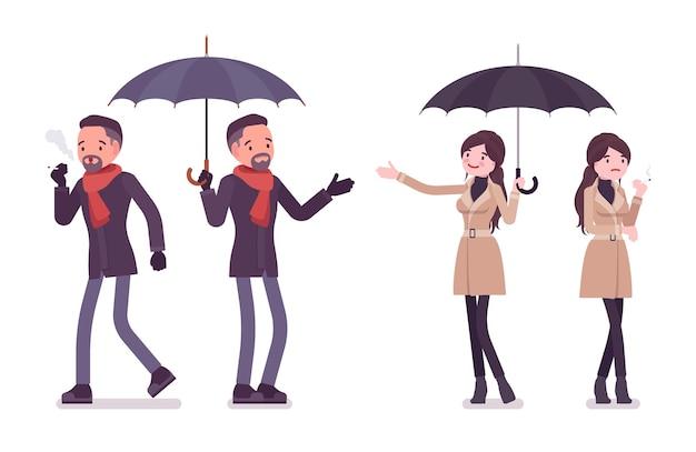 秋の服のイラストを身に着けている傘の喫煙とスタイリッシュな男性と女性 Premiumベクター