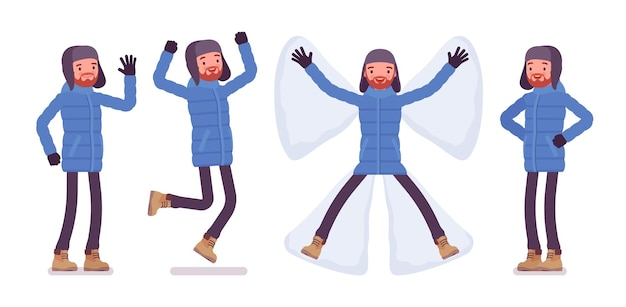 Stylish man in blue down jacket positive emotions