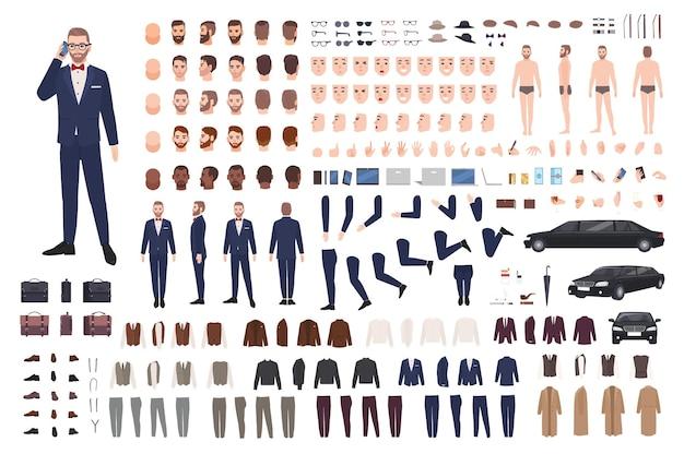 Stylish man dressed in elegant suit creation set