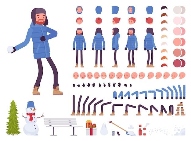青いダウンジャケットの服のキャラクター作成セットでスタイリッシュな男