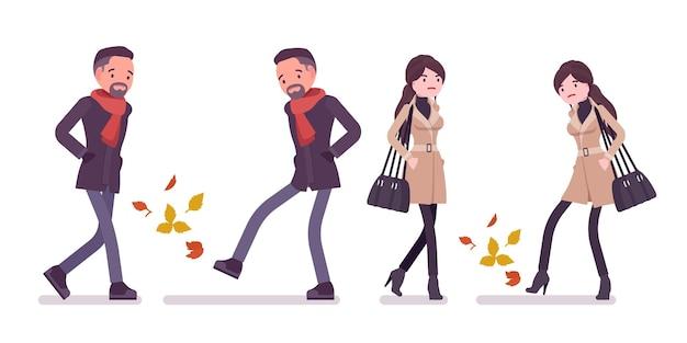 スタイリッシュな男性女性が秋の服のイラストを着て黄色の葉の上を歩く