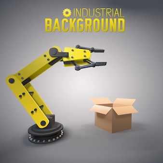 Stylish manufacture composition with yellow robot arm at factory packs the goods in boxes