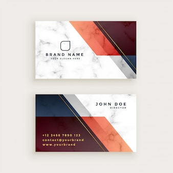 Stylish marble business card design with geometric shapes