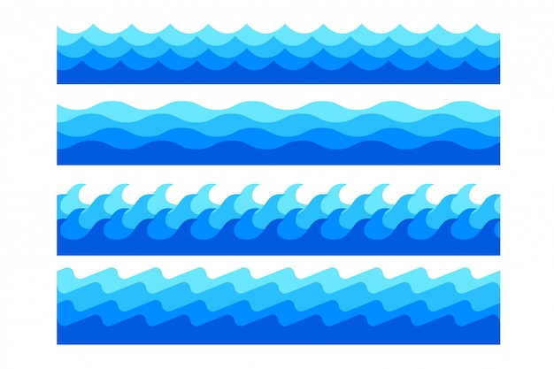 Stylish marine sea waves in different shapes set