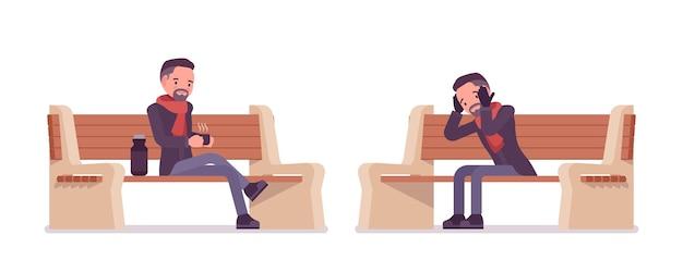 秋の服のイラストを着てベンチに座っているスタイリッシュな中年男性