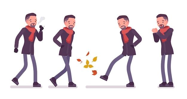秋の服のイラストを着て寒さを感じるスタイリッシュな中年男性喫煙
