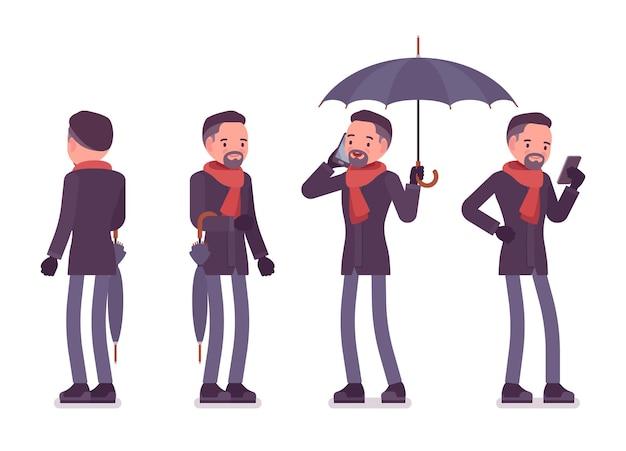 秋の服のイラストを身に着けている傘を持つスタイリッシュな中年男性