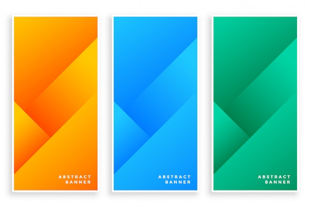 Stylish modern abstract banners set of three